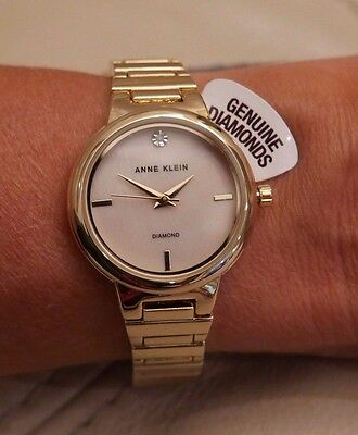 NEWWT Anne Klein Womens AK/2440PMGB Diamond Accented Pearl face Gold Tone Watch