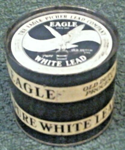 Vtg Eagle Picher Pure White Lead Advertising Metal Coin Bank Can Chicago