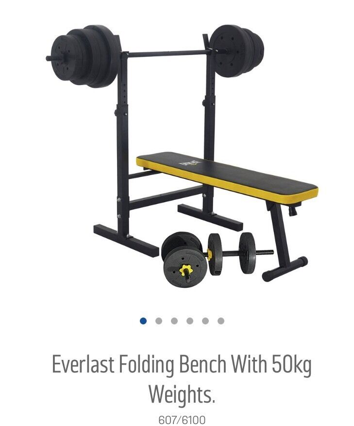 Everlast Folding Bench With 50kg Weights In Welham Green Hertfordshire Gumtree