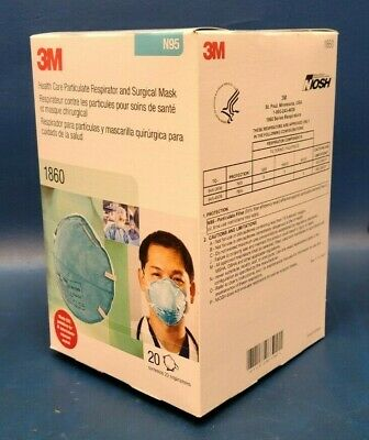 Brand New 3m Box Of 20 N95 1860 Facemask Respirator And Surgical Mask.