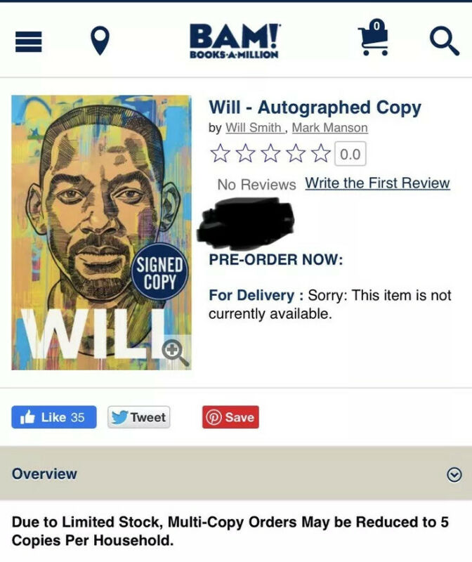 """WILL SMITH """"WILL"""" HARDCOVER BOOK 1ST ED. SIGNED AUTOGRAPHED PREORDER SOLD OUT"""