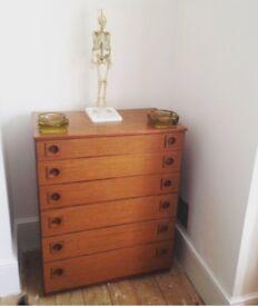 Vintage 1960s Schreiber tall chest of drawers teak mid century retro
