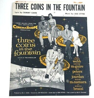 Vintage Sheet Music Three Coins In The Fountain 1954 Movie