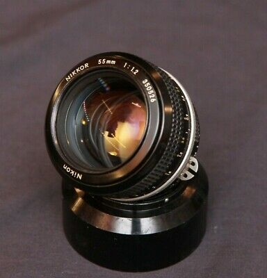 Vintage Nikon Nikkor 55mm f1.2 Prime Non-Ai Manual Focus Camera Lens w/ Hood
