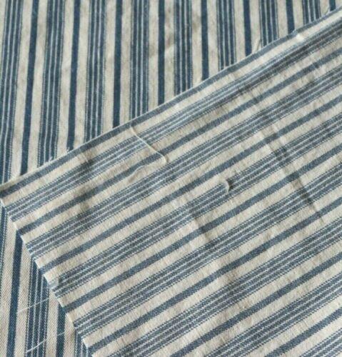 "Vintage American Indigo Nautical Stripe Cotton Ticking Fabric~L-21""X W-19"""