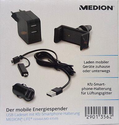 Medion Life E69464 USB und Ladegerät KFZ Auto Adapter Smartphone-Halterung ()