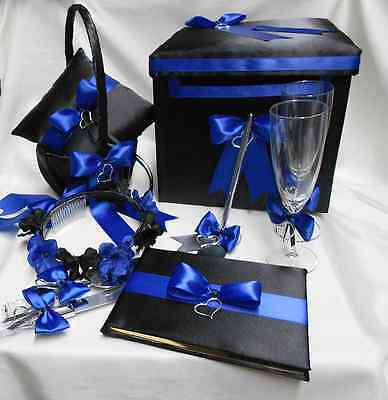 Black Royal Blue Flower Girl Basket Halo Ring Pillow Guest Book Pen Card Box Basket Pillow Guest Book Box