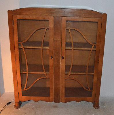 Walnut Art Deco Display Cabinet