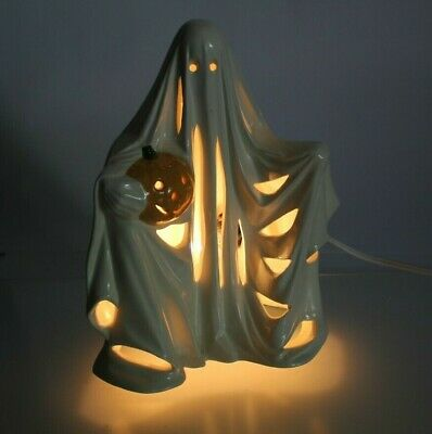 """Vintage 1972 Lighted Ceramic Byron Mold Ghost With Pumpkin Lamp Works! 9"""""""