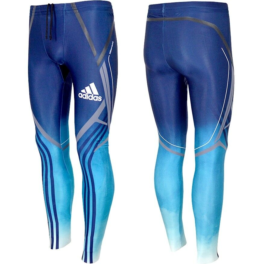 Adidas XC Race Tight Herren Langlauf Hose Techfit Biathlon Skihose Laufhose blau