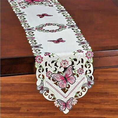 """Pink Butterflies Linen Table Runner 69""""L"""