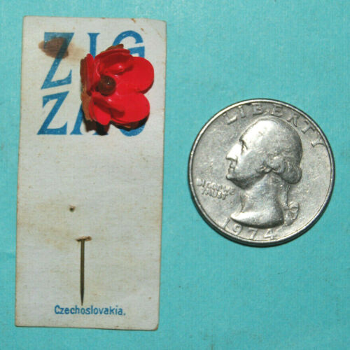 Nice Early Cracker Jack Flower Pin on Card ZIG ZAG Candy Premium Prize