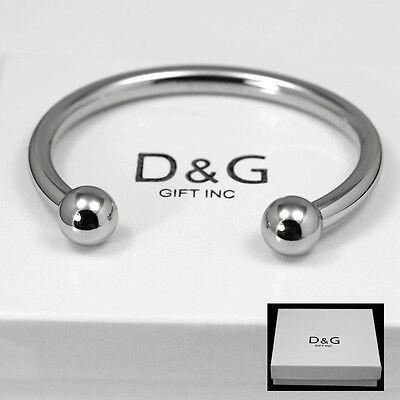 """DG Men's Stainless Steel Silver 7"""" Round Cuff Bracelet Unisex + Box"""
