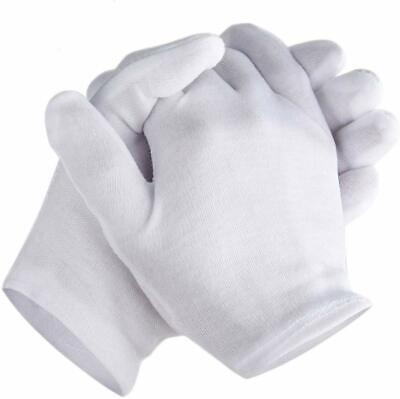 Zealor 6 Pairs Medium White Cotton Gloves Thickened Stretchable Lining Glove New