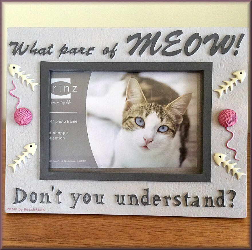 """Cat-Meow Photo Frame by Prinz Holds 4"""" High x 6"""" Wide Pictur"""