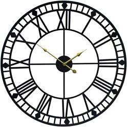 Nice Wall Clock 24 2' Large Roman Numerals Metal Industrial Black Steampunk