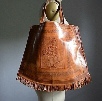 VTG 70's HIPPIE CHIC TRIBAL GENUINE LEATHER SHOULDER BAG TOTE w/ LEATHER FRINGE