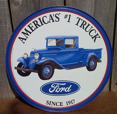 Vintage Ford Model T Pickup Truck Tin Metal Sign Auto Garage Motors Round -