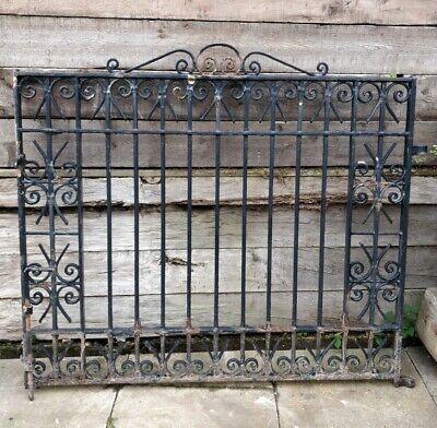Pair Wide Heavy Black Iron Reclaimed Gates Scroll Detail Driveway Garden #G42(B)