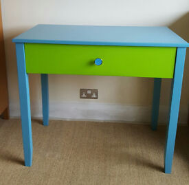 Bespoke manufactured childrens colourful bedroom work desk with drawer. Kids furniture