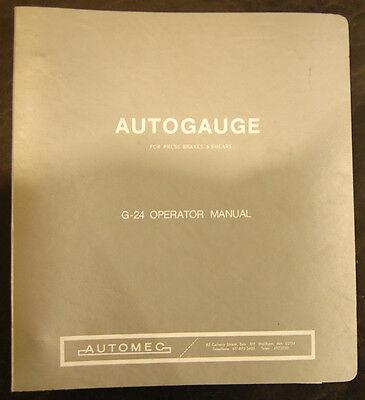 Autogauge G-24 Press Brakesshears Operator Manual