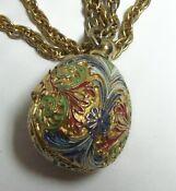Cute Vintage Enamel Easter Egg TAYLOR Necklace Watc