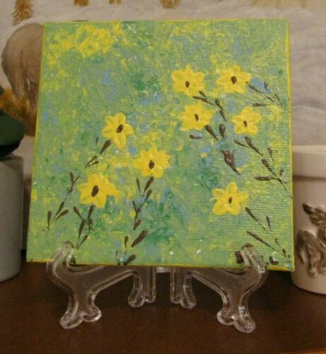 """Original, Hand Painted, Field of Yellow Flowers, Art Acrylic on Canvas 4""""x4"""" w/S"""