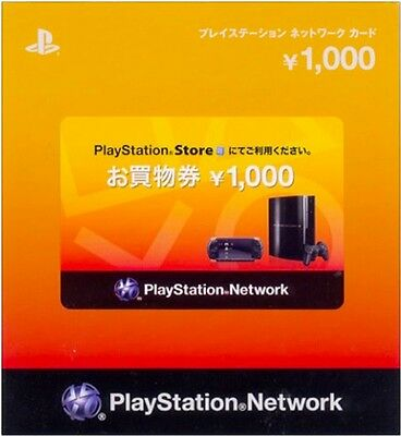 PlayStation Network Card 1000 YEN Instant Card - Japan / PSN PS4 PS3 PSVita PSP