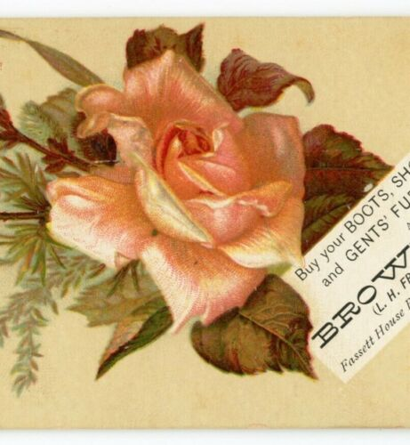 a6  Tradecard 1900 ? Brown & Co Boots shoes hats Roses Wellsville NY 480a