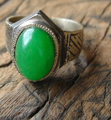 Men's Niger Tuareg hand engraved green agate ring