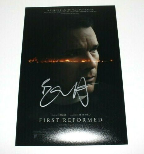ACTOR ETHAN HAWKE SIGNED 'FIRST REFORMED' 12x18 MOVIE POSTER W/COA PAUL SCHRADER