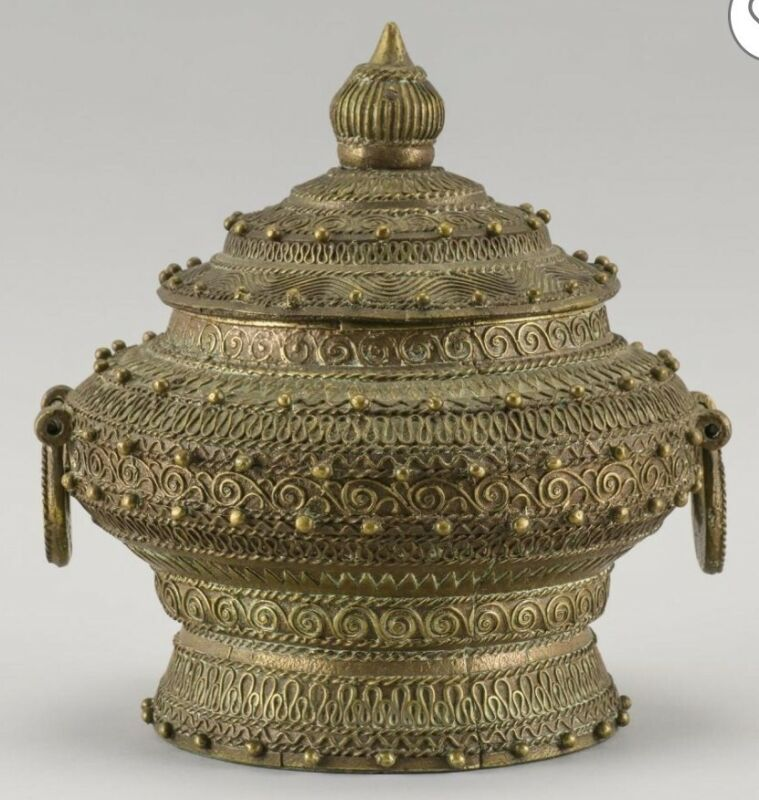 19th century lidded vase urn bronze/brass repouse