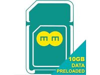 EE 4G SIM CARD Preloaded with 10 GB Internet + £10 Top Up Credit for One Month