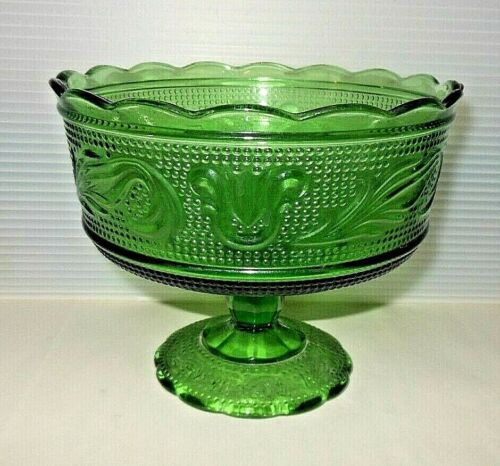 Mid Century Vintage EO Brody Emerald Green M6000 Footed Compote/Candy Dish