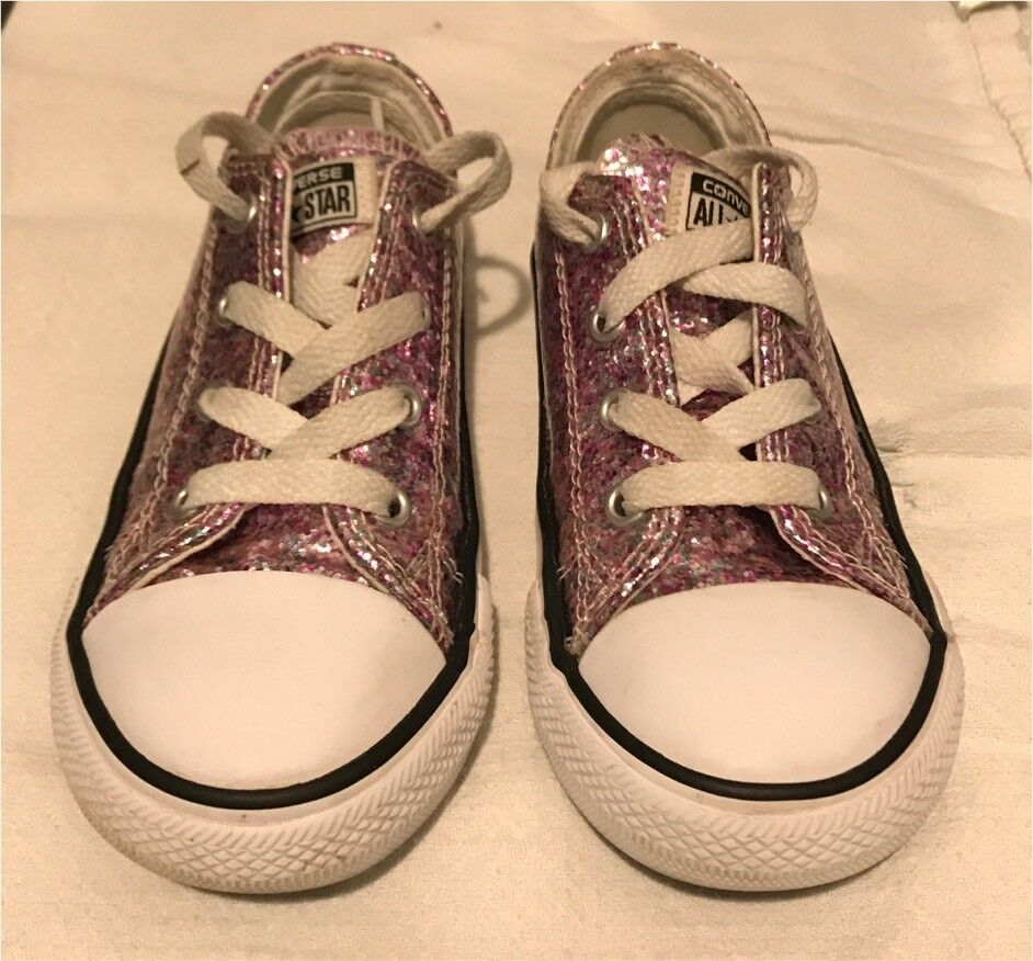fd7ff4a5570c Girls pink sparkly converse size 9