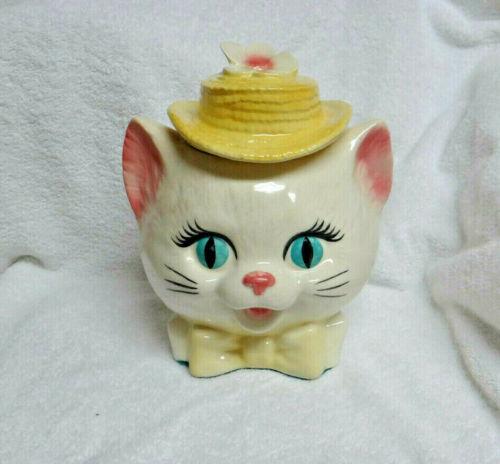 Vintage Metlox Ceramic Lady Cat Head Cookie Jar