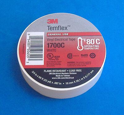 Premium Grade 3m Temflex White Vinyl Electrical Tape 34 X 66 Flame Retardant
