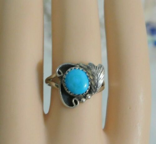 Vintage Native American Sterling Silver Turquoise Ring Signed R.S. Sterling