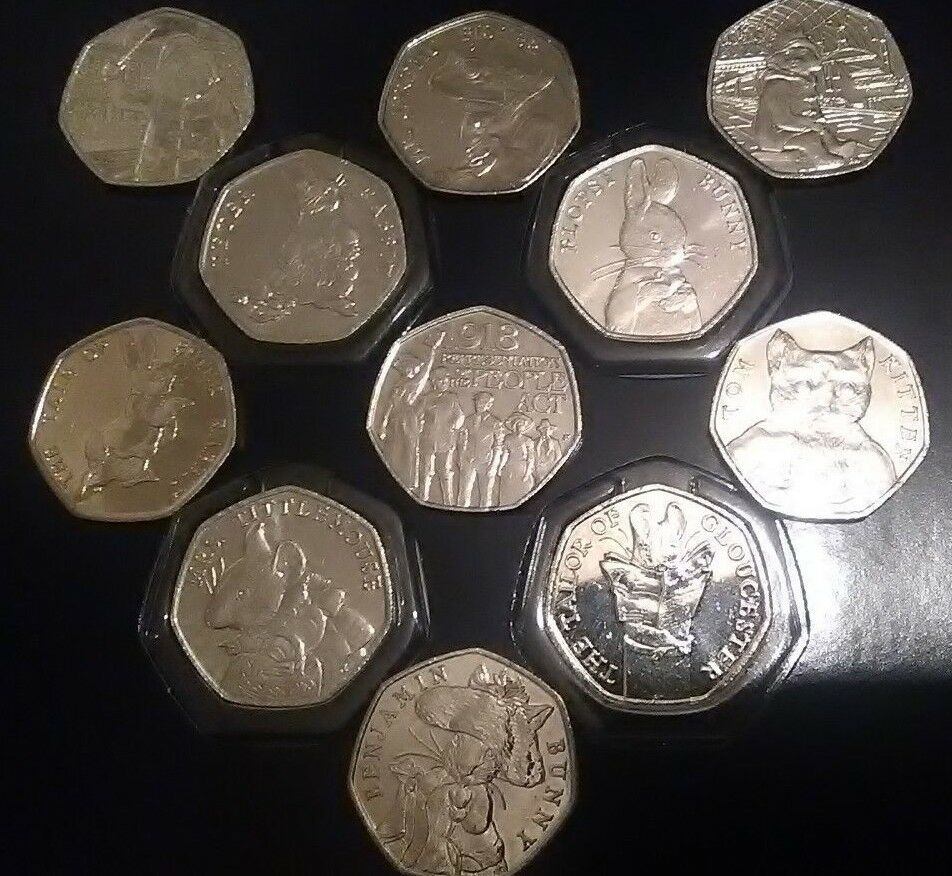 2018-17 50p coins Paddington, Beatrix, Tittle, Rabbit, Fisher, Tom Kitten, etc.