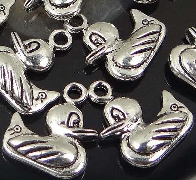 10 Lovely Antique Silver Pewter Duck Quacker Charm 19x16mm Love Pewter Charm