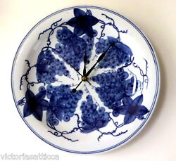 Collectible Very Large Hand Painted Cobalt Blue Grapes Ceramic Plate Wall Clock