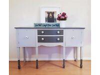 Grey Serpentine Mahogany Sideboard Buffet Console Table Storage Unit Furniture Bedroom Dresser
