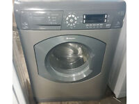 A734 graphite hotpoint 7kg 1600spin washer dryer comes with warranty can be delivered or collected