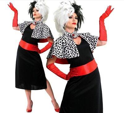 Disney DELUXE CRUELLA DE VILLE Fancy Dress Costume + WIG Halloween Scary - Cruella Deville Kostüm Disney