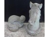 Garden Statue of Horse Head