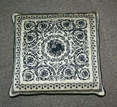vintage Gianni Versace Pillow  16 x 16  black and white  circa 2000 2002