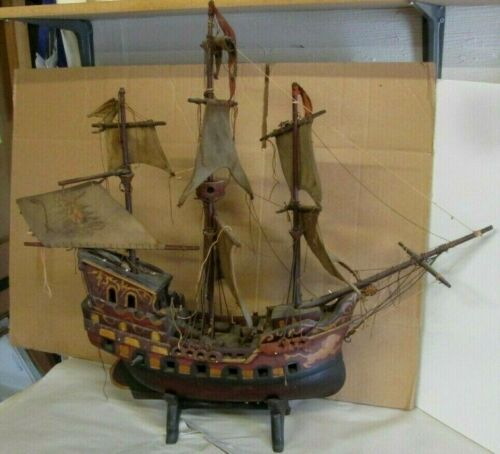 """ANTIQUE 30"""" CIRCA 1800s HAND CRAFTED WOODEN LARGE SHIP"""