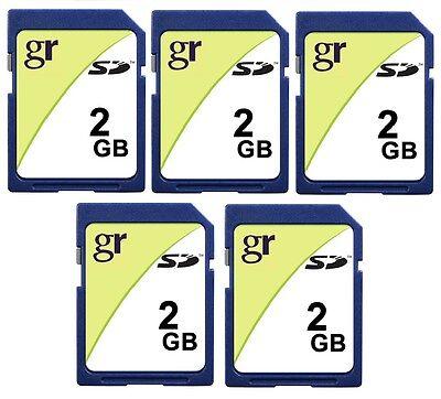 Wholesale LOT of 5 x 2GB Standard SD Secure Digital Flash Memory Card 5 PACK