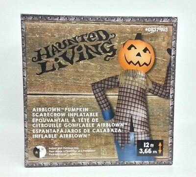 Halloween Airblown Inflatable Large Pumpkin Scarecrow 12' Gemmy  New - Large Halloween Inflatables