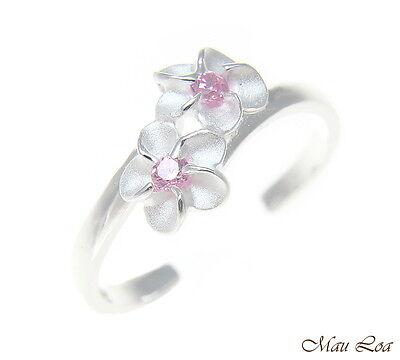 925 Sterling Silver Hawaiian Double Plumeria Flower Pink CZ Open Toe Ring